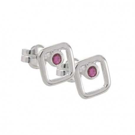 EARRINGS SILVER AND RUBY