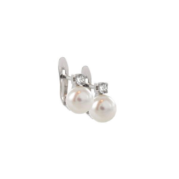 Pendientes oro perla y diamantes