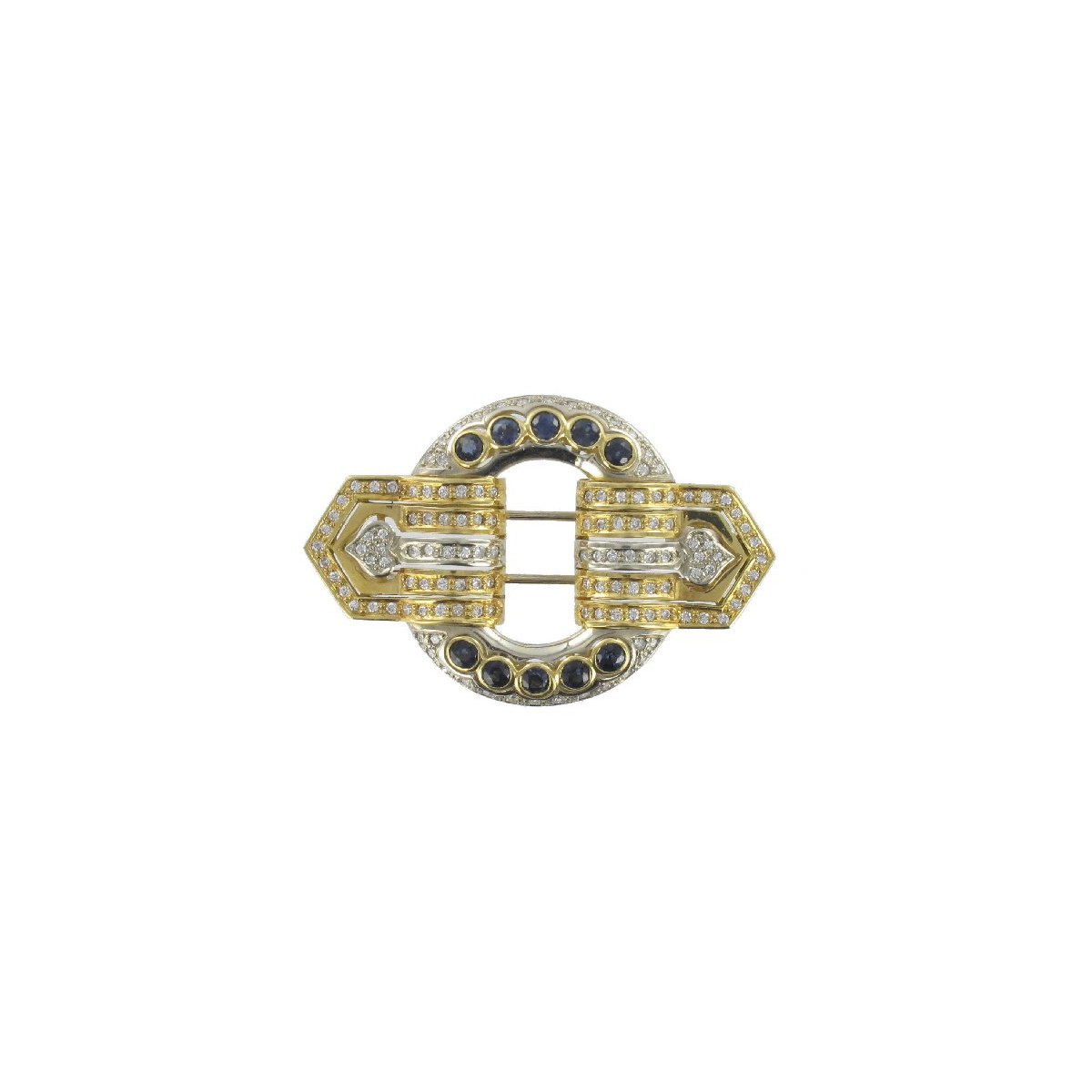 GOLD DIAMOND AND SAPPHIRE BROOCH