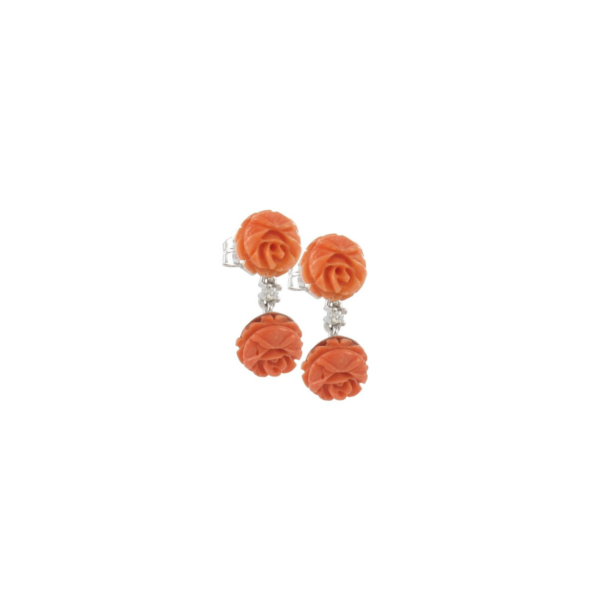 DIAMOND AND CORAL GOLD EARRINGS
