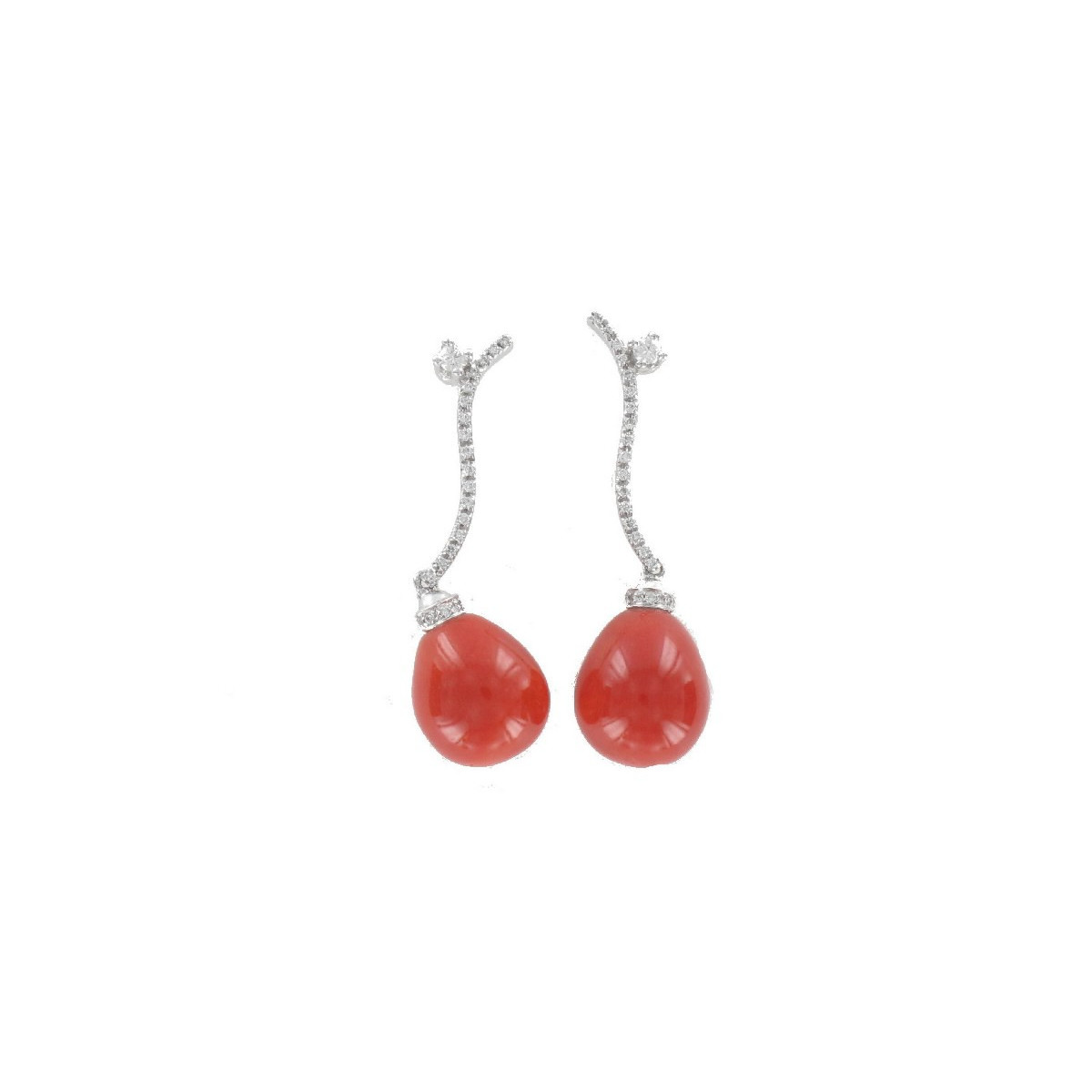 GOLD EARRING DIAMOND AND CORAL