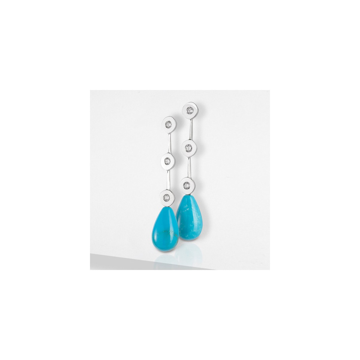 GOLD DIAMOND AND TURQUOISE EARRINGS