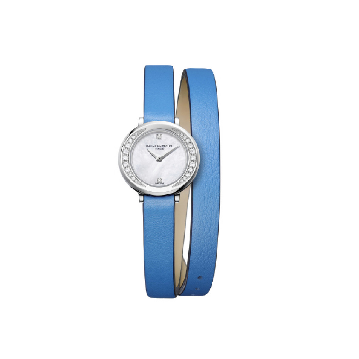 BAUMER MERCIER PROMESSE MOTHER OF PEARL AND BRILLIANT BLUE STRAP