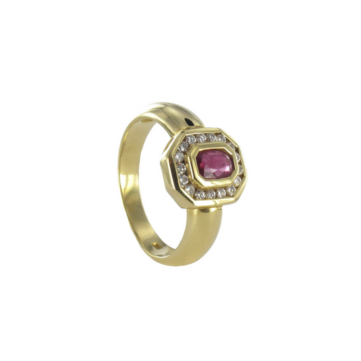 GOLD RUBY AND DIAMONDS RING