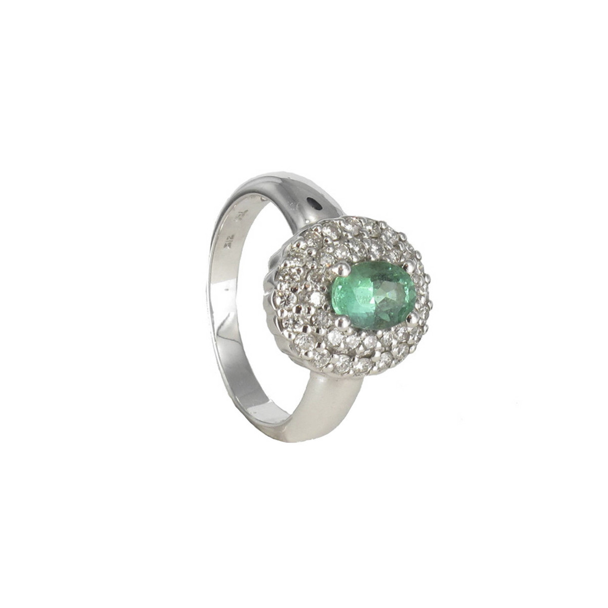 GOLD EMERALD RING AND DIAMONDS 0.52 KTES