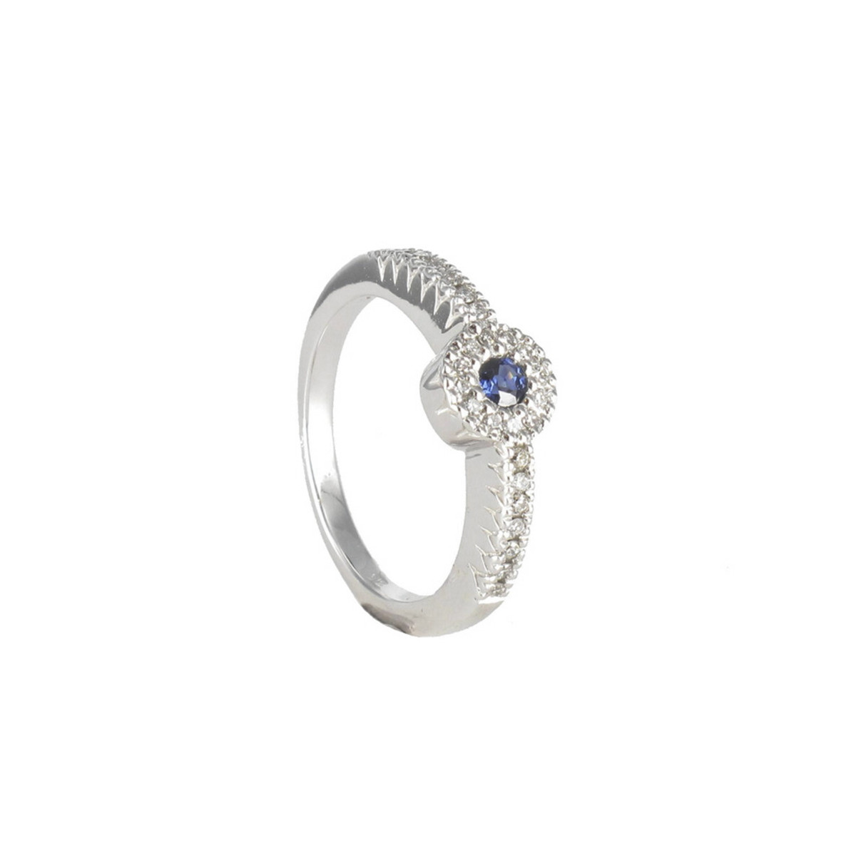 FINE RING WITH DIAMONDS AND BLUE STONE