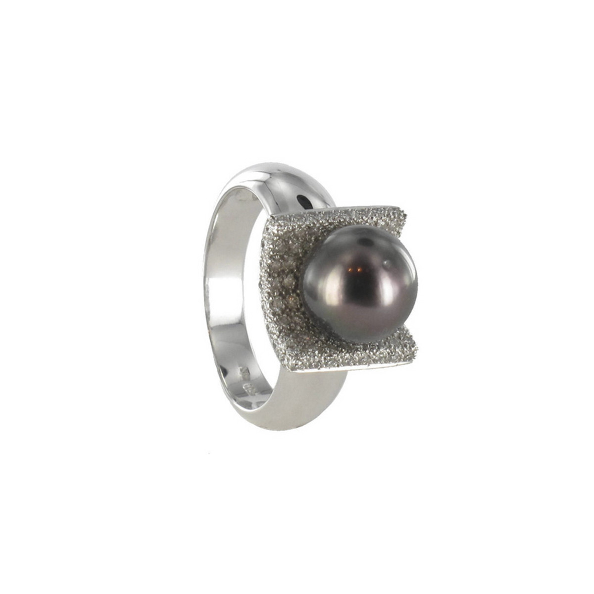 GOLD PEARL AND DIAMONDS RING