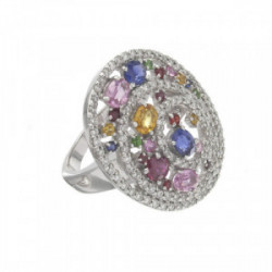 GOLD OVAL RING WITH PRECIOUS STONES