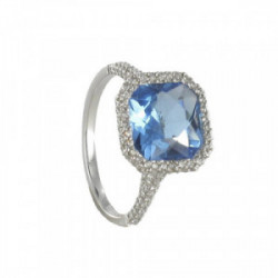 RING WITH SQUARE TOPAZ AND DIAMONDS