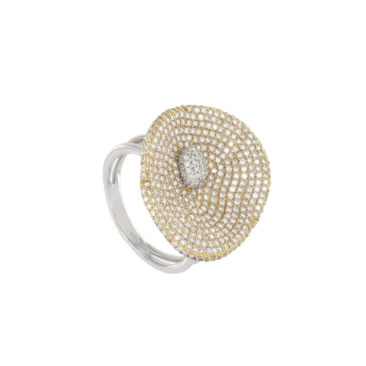 TWO GOLD AND DIAMOND PAVE RING