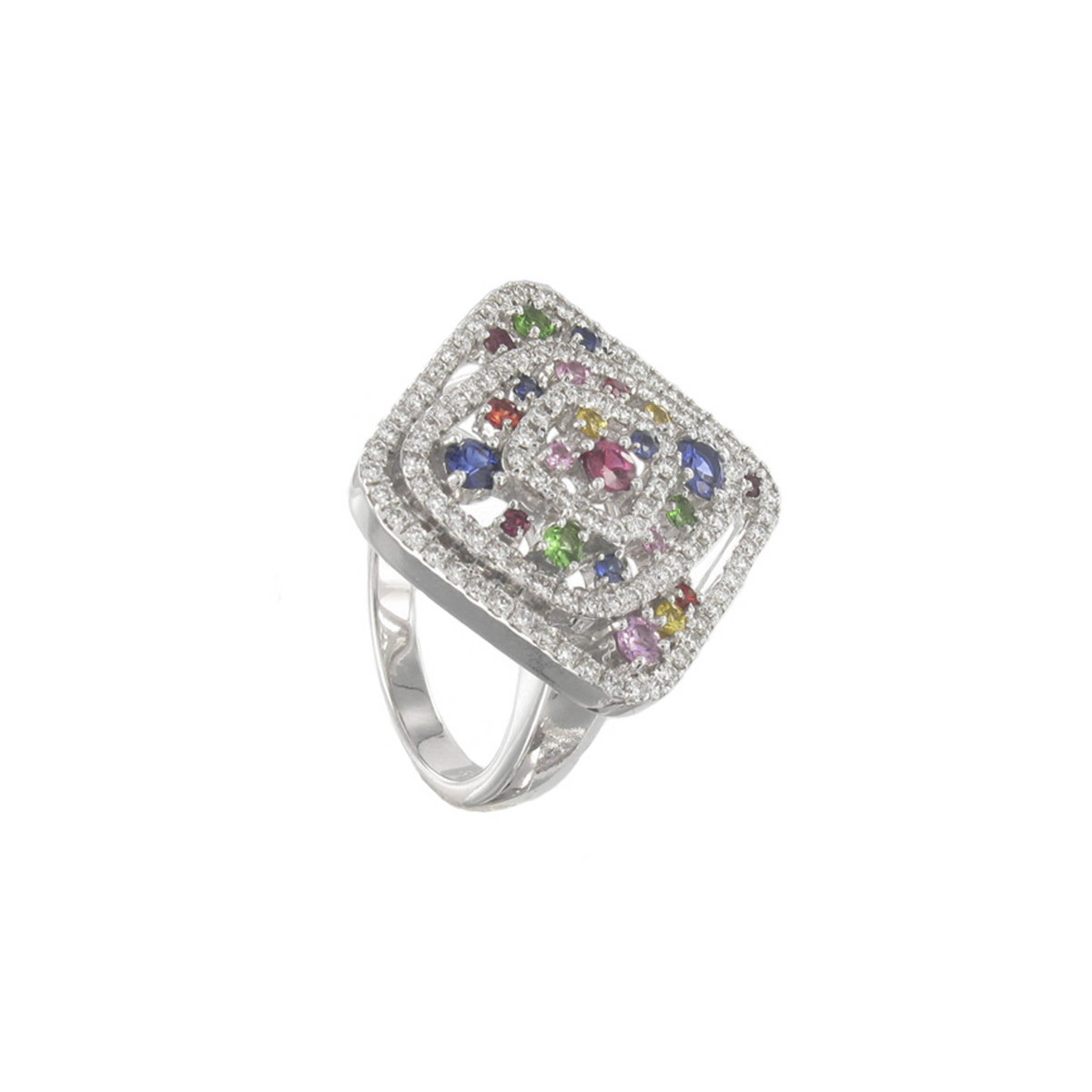 RING WITH COLORED STONES AND DIAMONDS