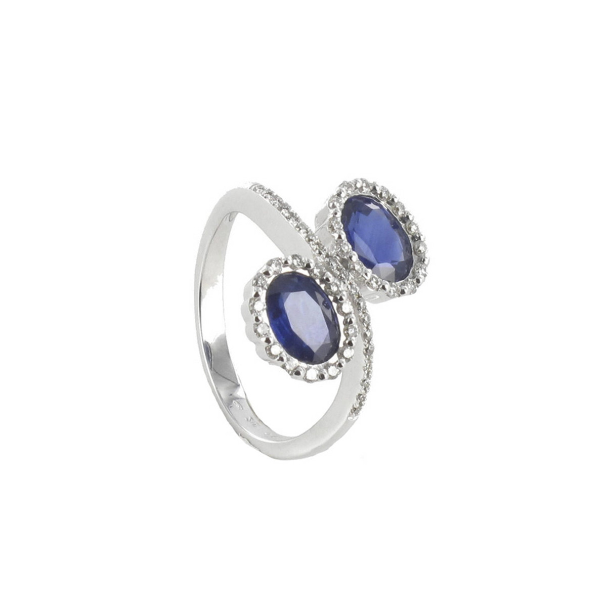 GOLD RING 2 OVAL SAPPHIRES AND DIAMONDS
