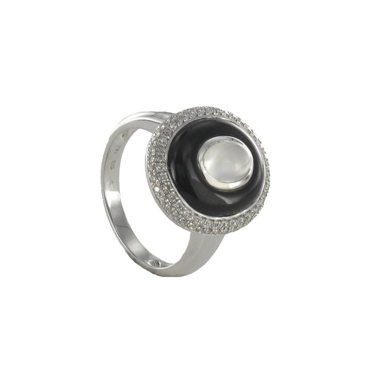 GOLD RING STONE OF MOON DIAMOND AND ONYX