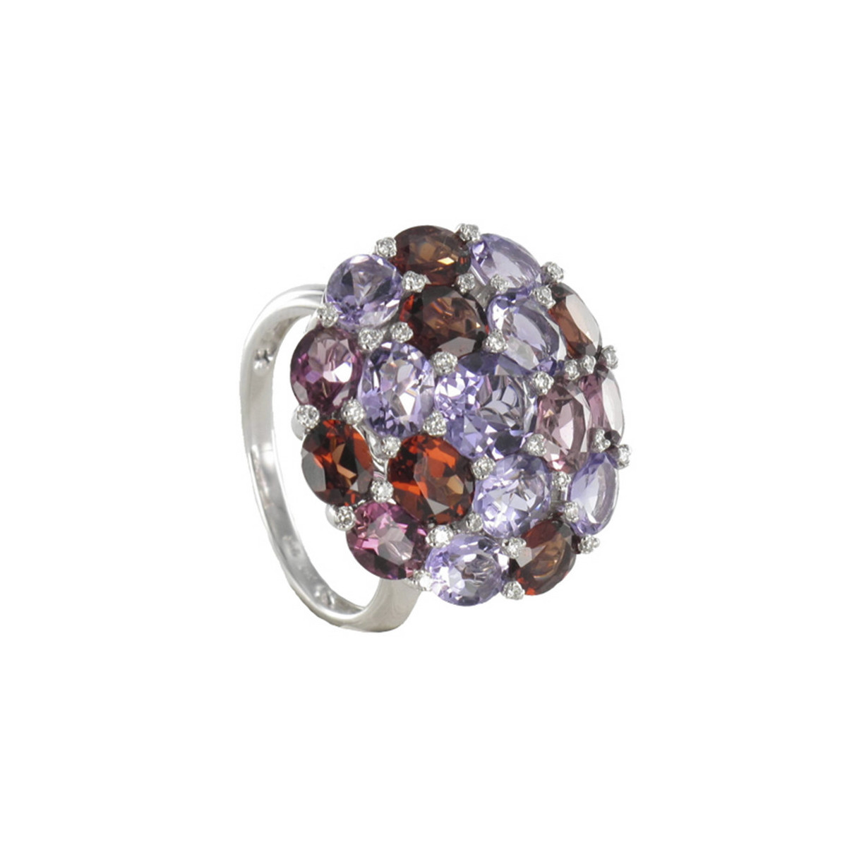 ANELL OR DIAMANTS I 18 PEDRES COLOR