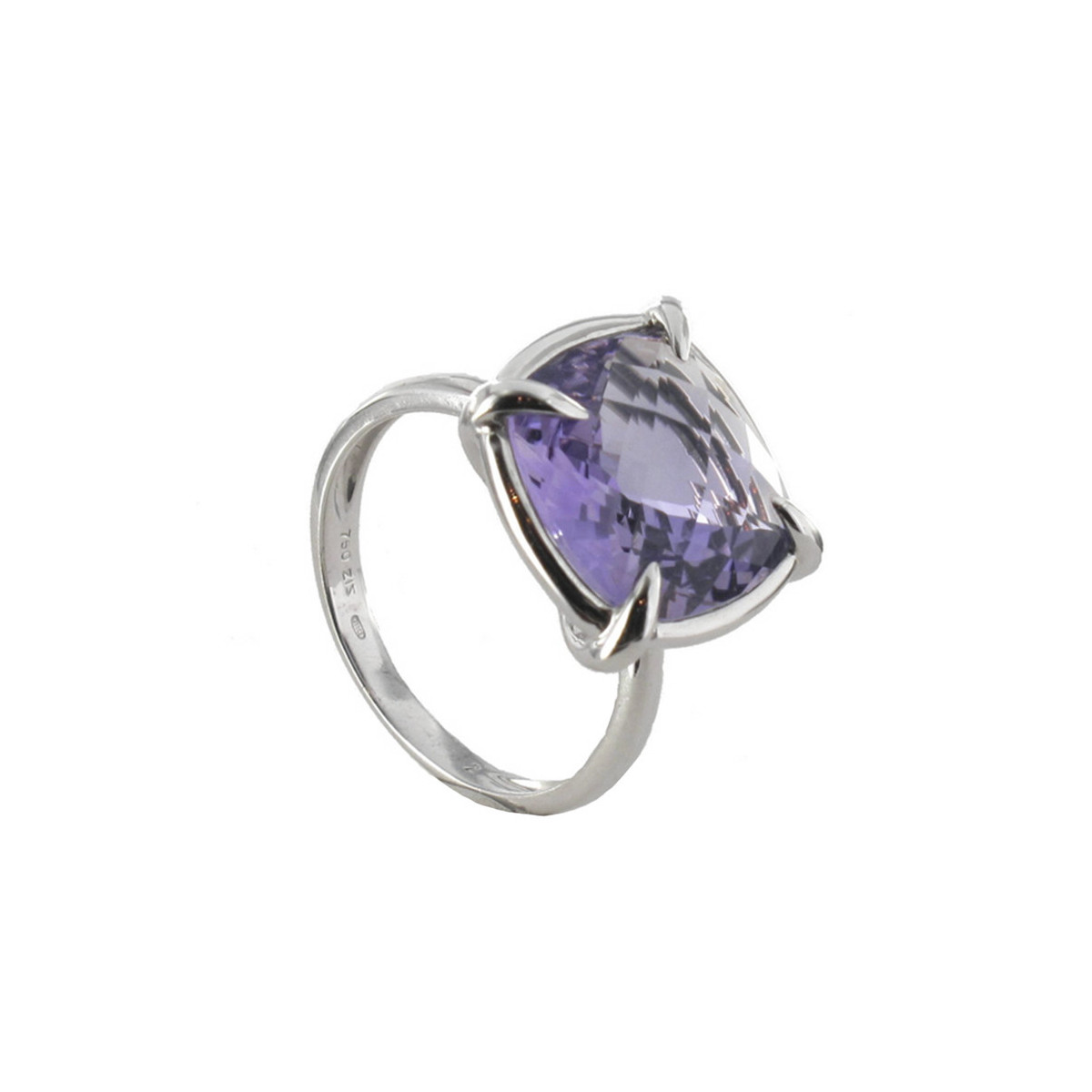 POLISHED GOLD RING WITH AMETHYST