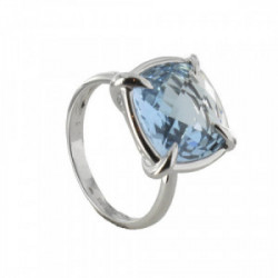 WHITE GOLD RING TOPAZ 4 CLAWS