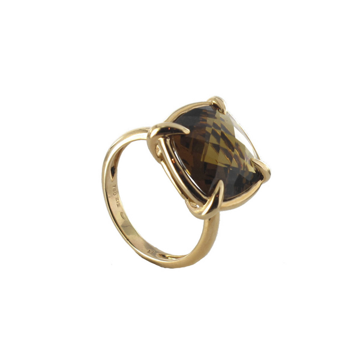 RING RING ROSE GOLD 18 CARATS QUARTZ BROWN