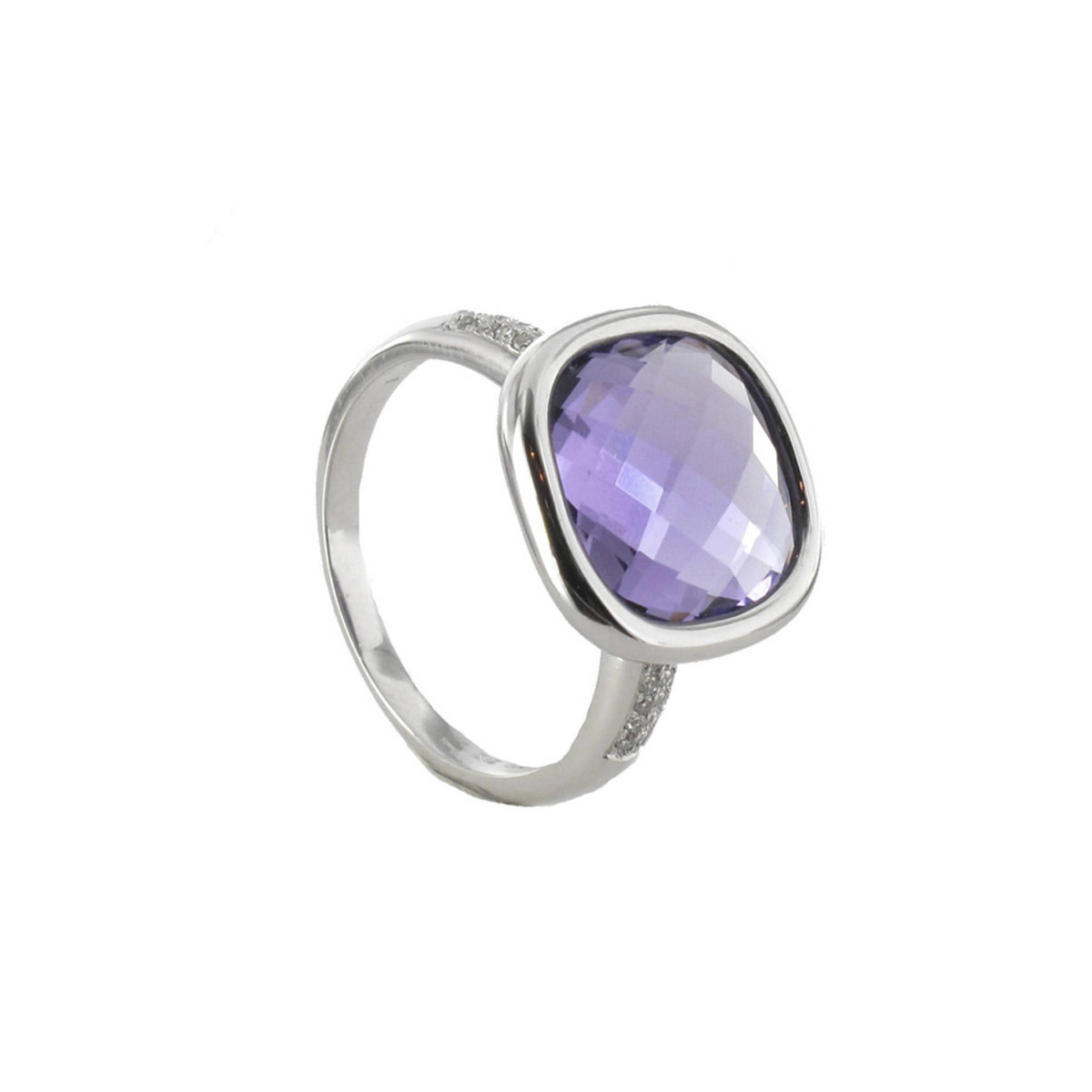 FINE GOLD RING WITH AMETHYST AND DIAMONDS