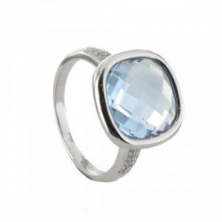 GOLD RING WITH FACETATED BLUE TOPAZ