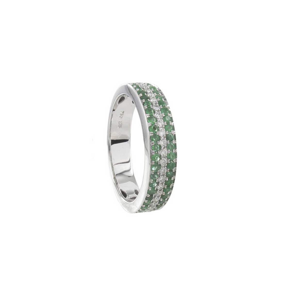 44 EMERALDS AND DIAMONDS GOLD RING