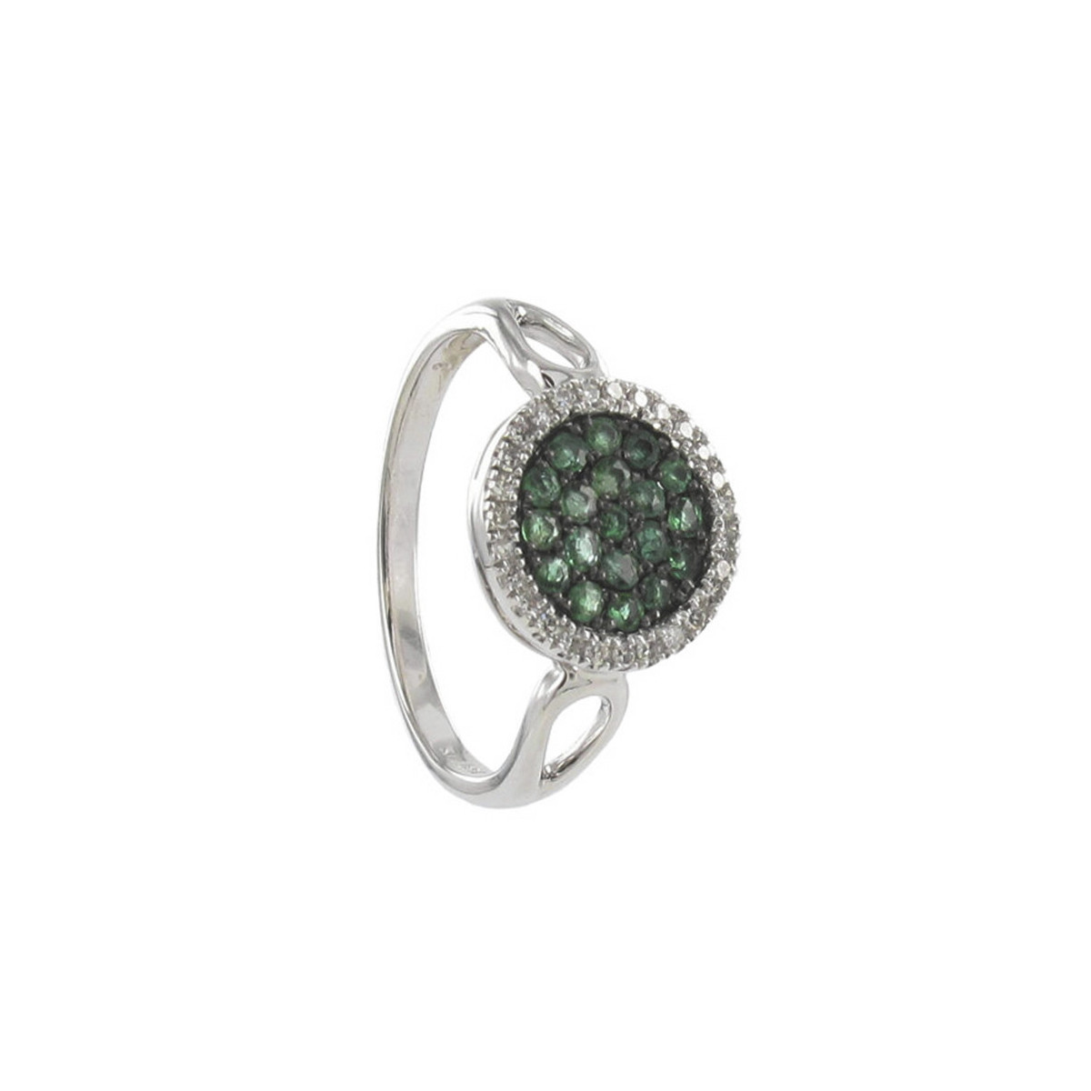 DESIGN RING WITH EMERALDS AND DIAMONDS