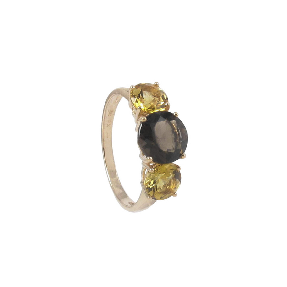 GOLD RING WITH SMOKED QUARTZ AND 2 CITRINES