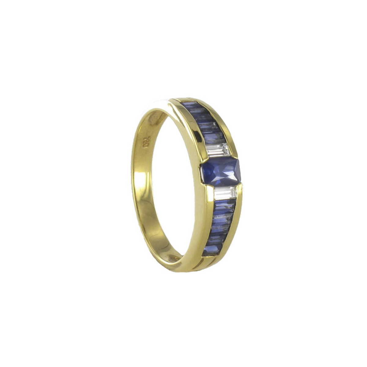 GOLD SAPPHIRES AND DIAMONDS RING