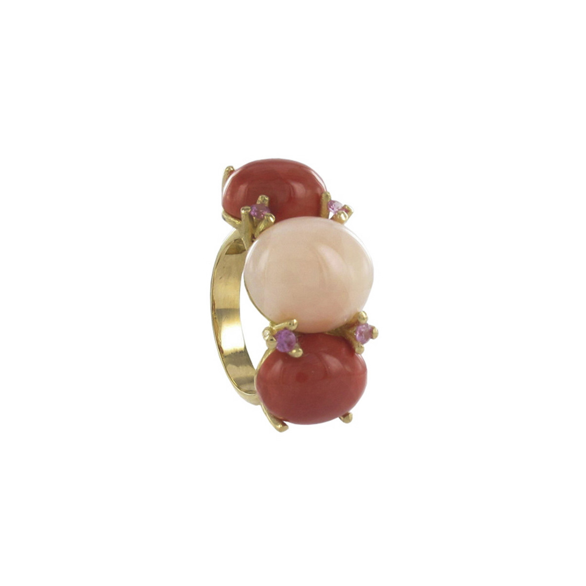 RING GOLD WITH CORAL AND SAPPHIRES