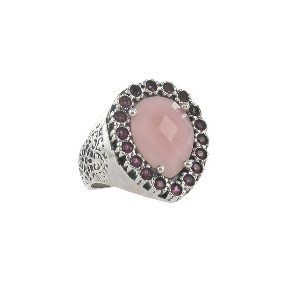 STERLING SILVER RING WITH PINK OPAL