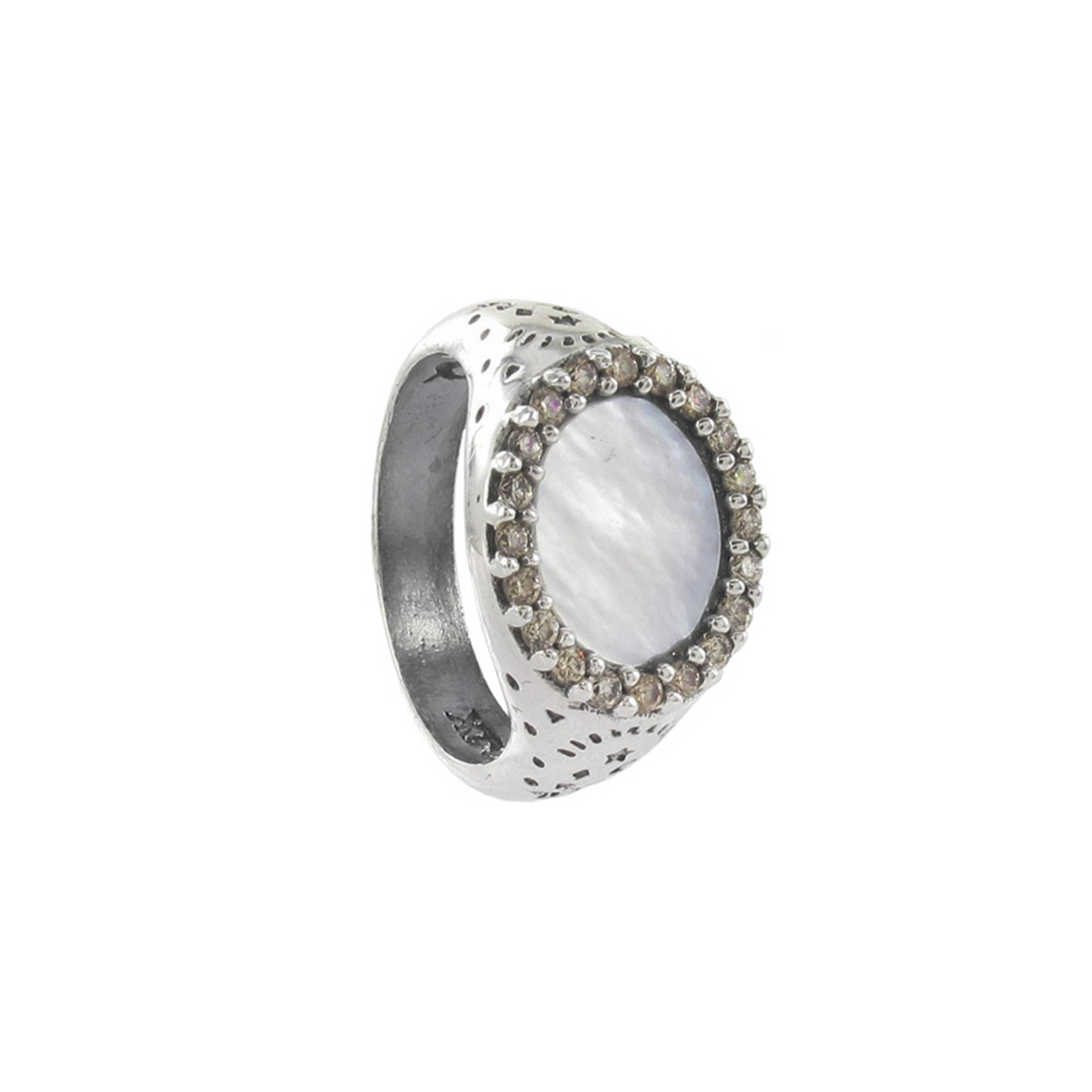 STERLING SILVER RING WITH MOTHER-OF-PEARL AND STONES
