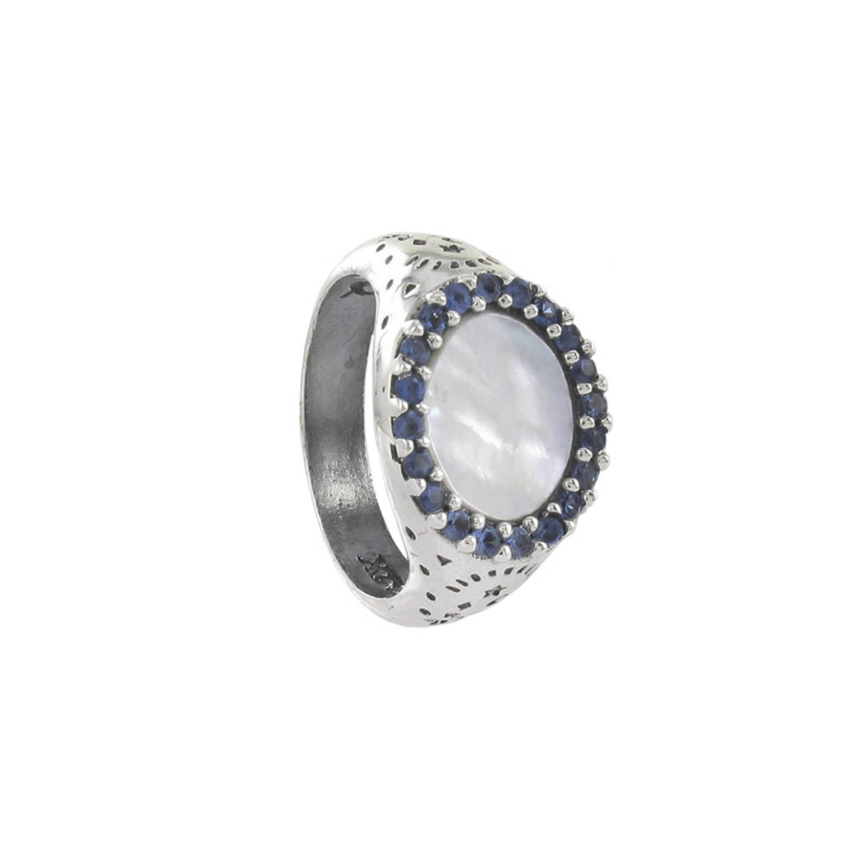 SILVER RING MOTHER OF PEARL AND SAPPHIRES