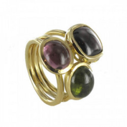 GOLD RING WITH GARNET AND TOURMALINES
