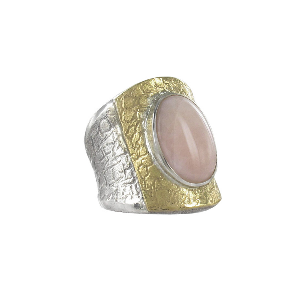 SILVER AND GOLD RING WITH ROSE CORAL