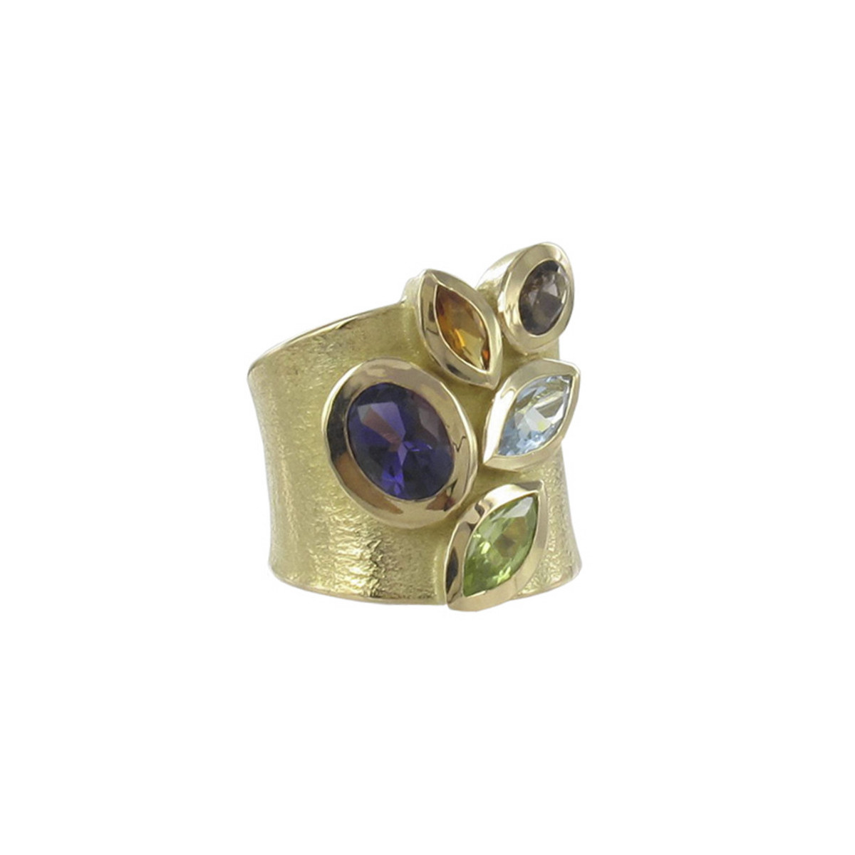 MATT GOLD RING AND STONES IN VARIED COLOR