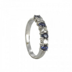 WHITE GOLD RING WITH 4 SAPPHIRES AND 3 DIAMONDS