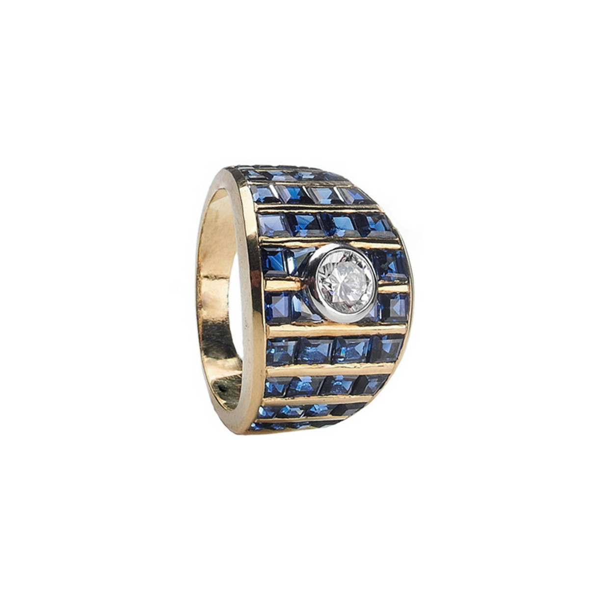 GOLD DIAMOND RING AND SQUARE SAPPHIRES