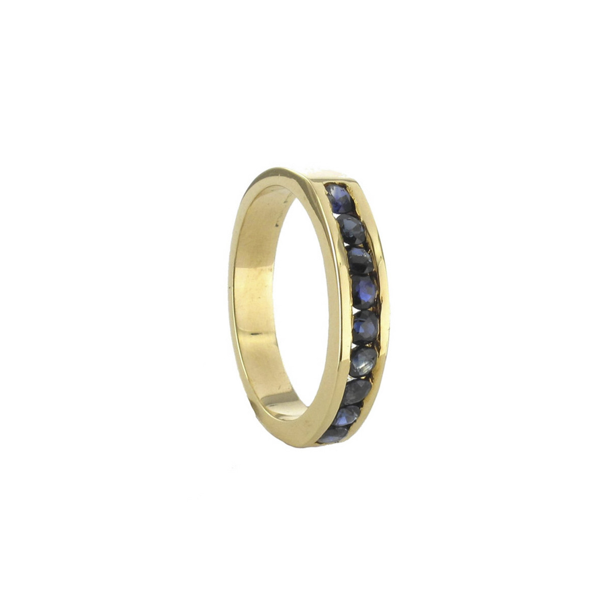 YELLOW GOLD RING 9 SAPPHIRES