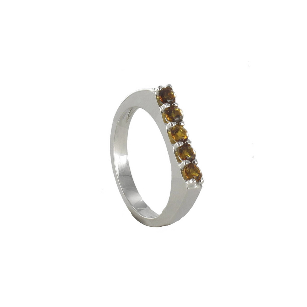 WHITE GOLD RING WITH 5 CITRINES