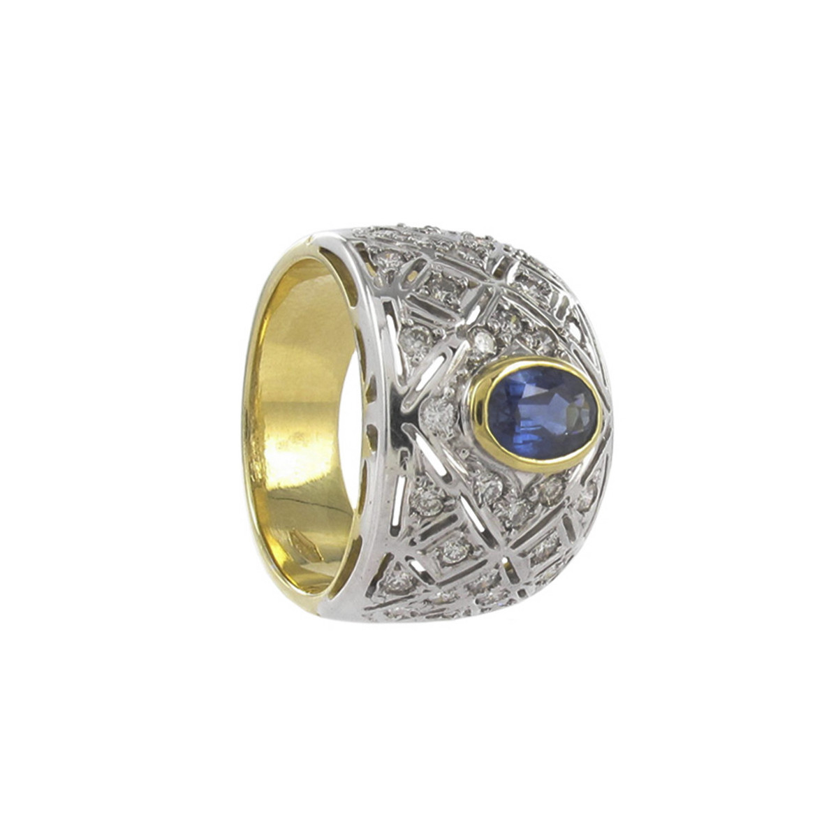 RING 2 GOLD WITH DIAMONDS AND SAPPHIRE