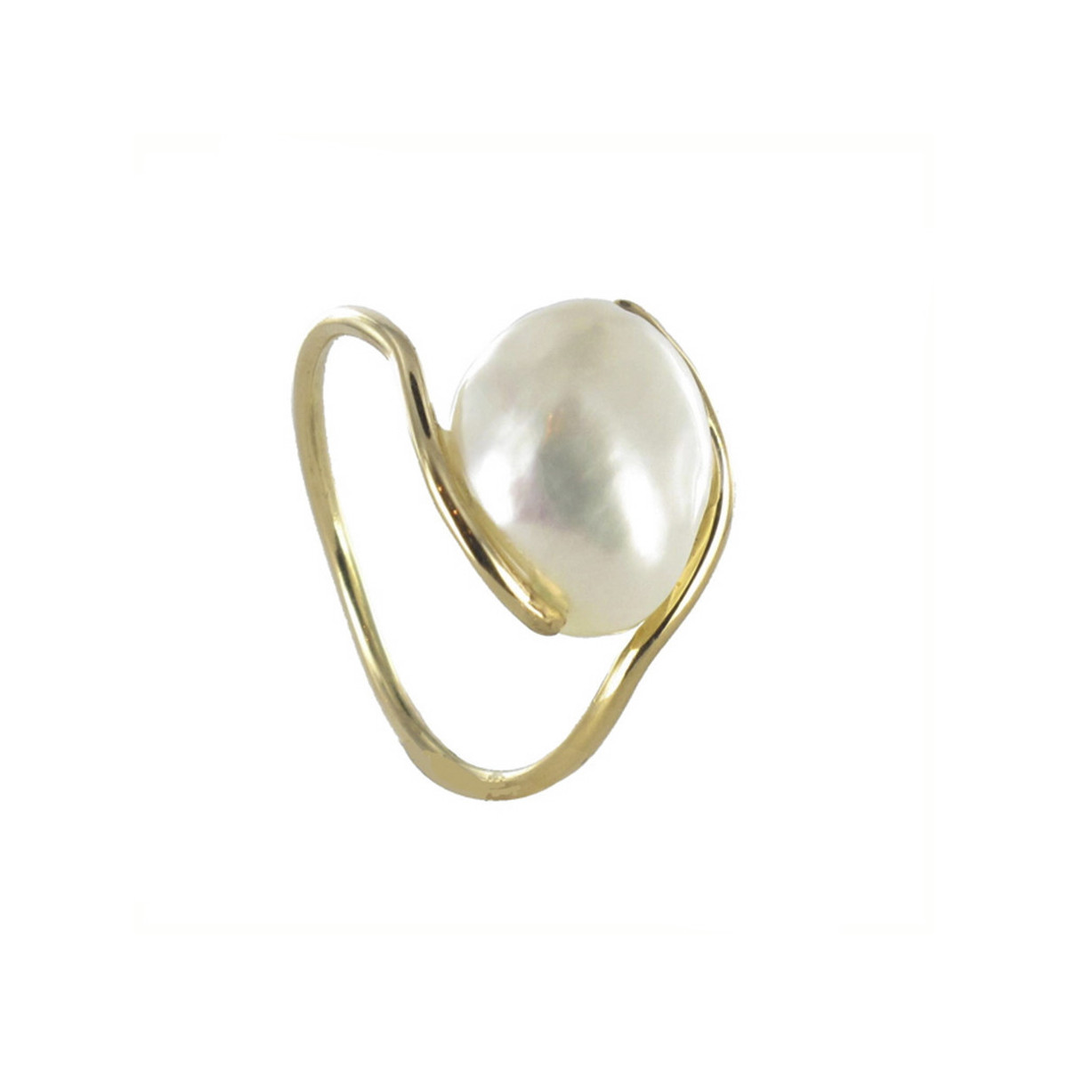 FINE THREAD GOLD RING WITH PEARL