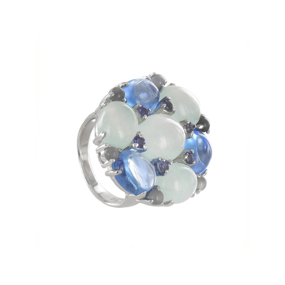 STERLING SILVER RING WITH MOON STONES