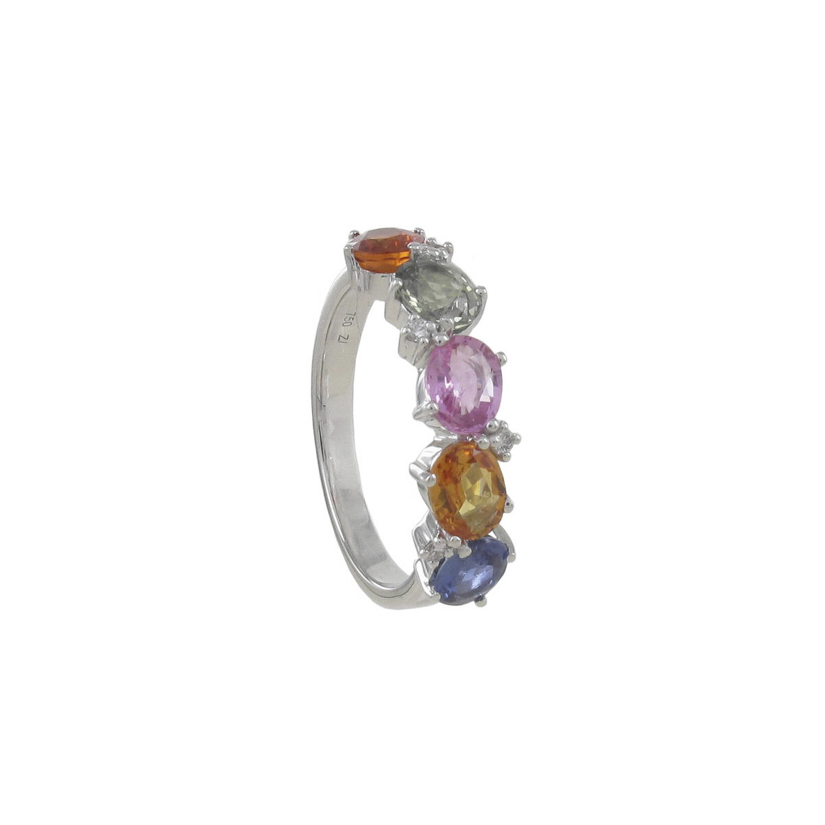 GOLD DIAMONDS AND COLORS SAPPHIRES RING