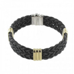 GOLD AND SILVER LEATHER BRACELET