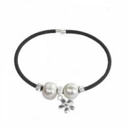 RUBBER BRACELET WITH SILVER AND PEARLS