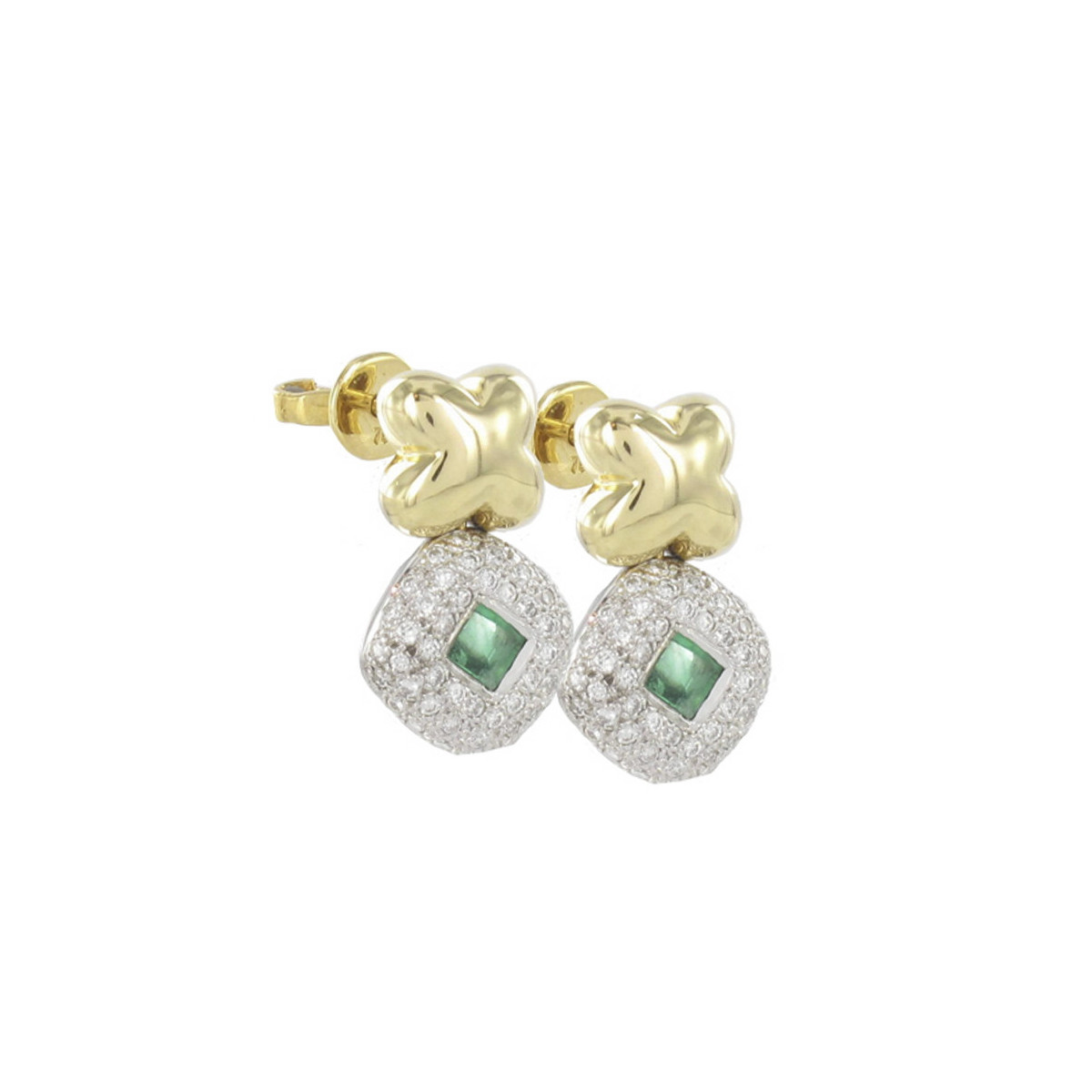 GOLD EMERALD AND DIAMOND EARRING