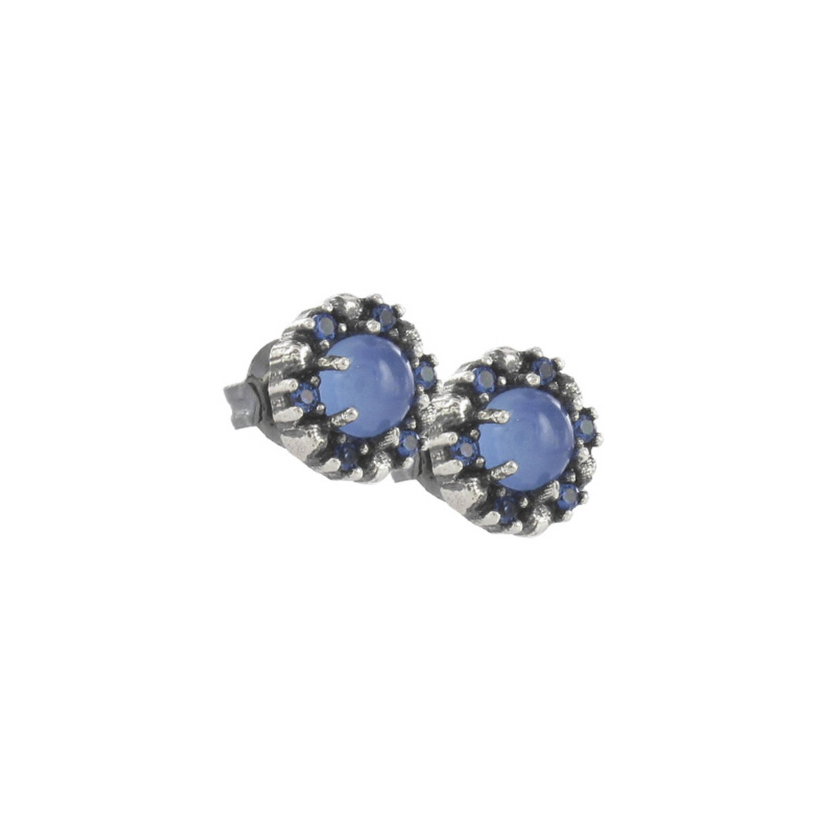 SILVER EARRINGS AND CHALCEDONY