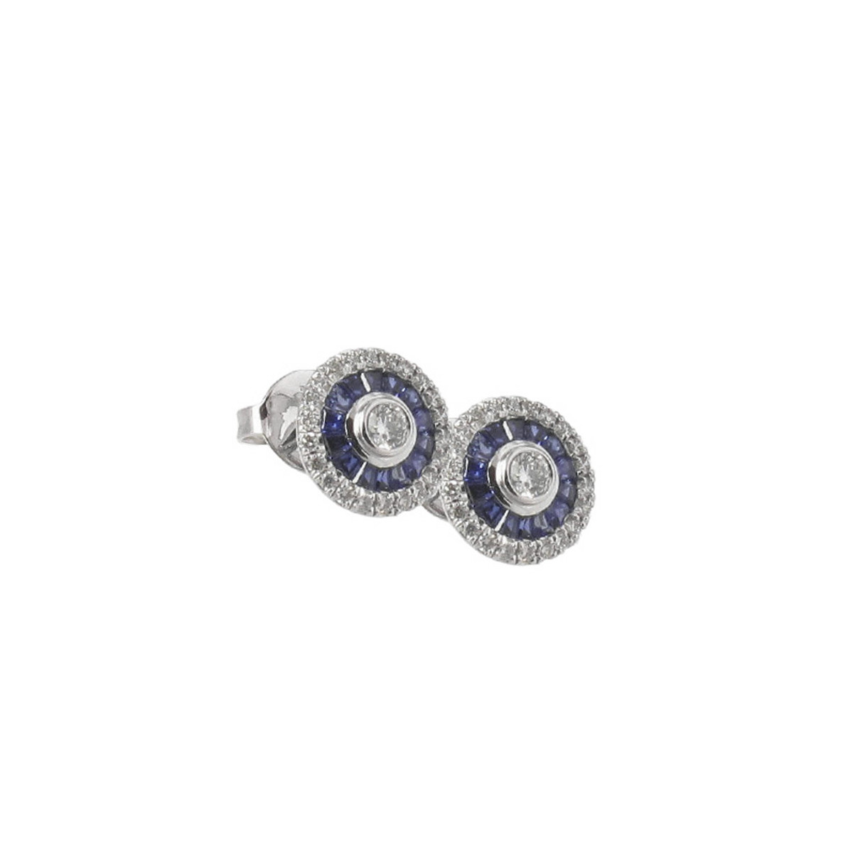 GOLD DIAMONDS AND SAPPHIRES EARRINGS