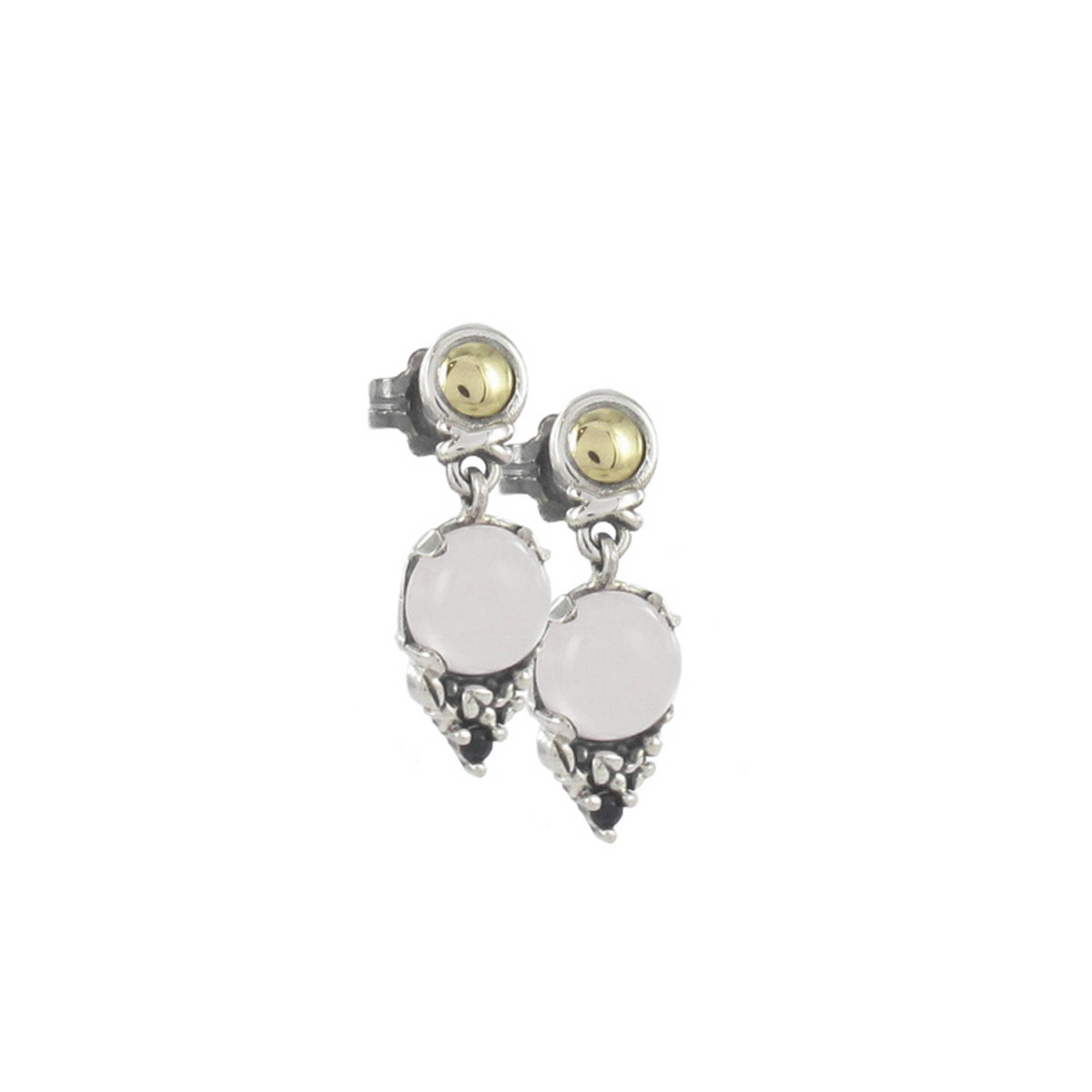 SILVER AND GOLD EARRINGS WITH NATURAL STONES