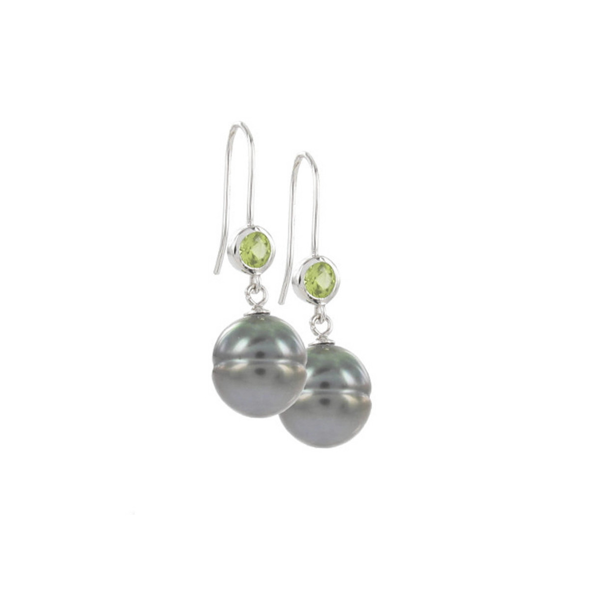 STERLING SILVER PERIDOT AND PEARL