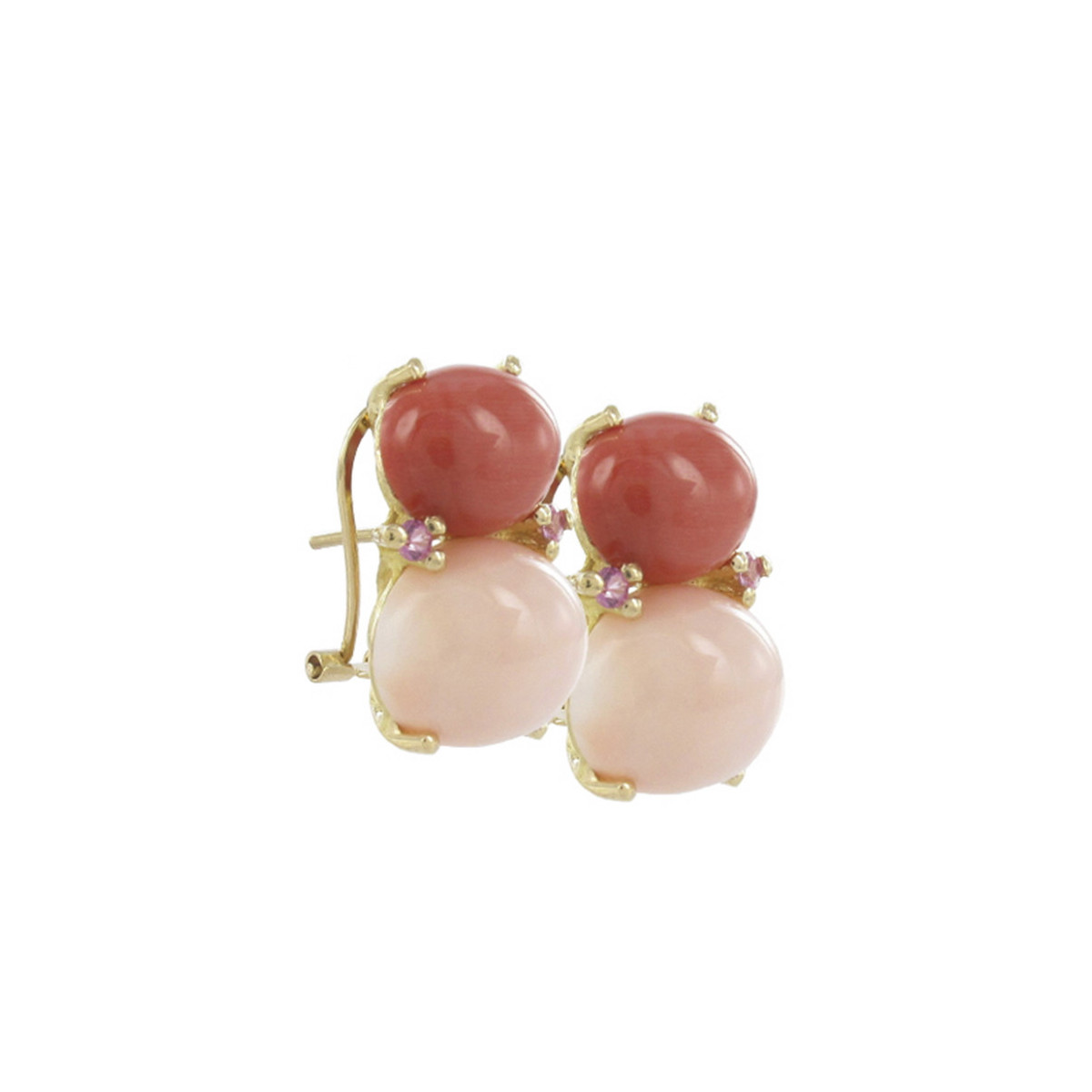 CORAL GOLD AND SAPPHIRES EARRINGS